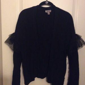 Black Cardigan w/tulle on sleeves